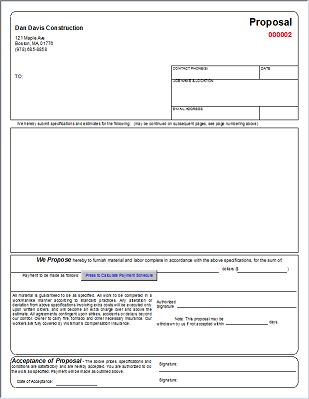 contractor bid proposal form template
